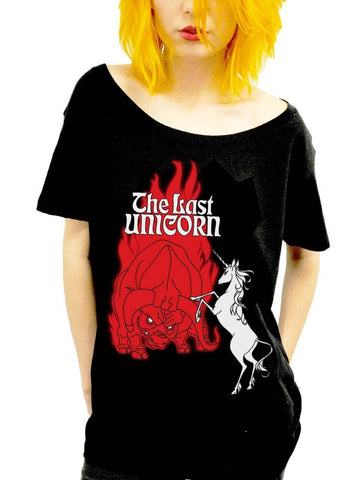 THE LAST UNICORN Retro Poster Scoop Neck
