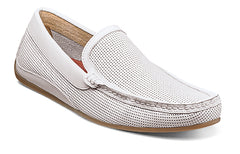 Florsheim White Oval Perf Driver Shoe in size 12 m, 13 m, 14 m at lil johns big and tall