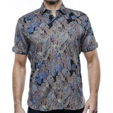 Luchiano Visconti Paisley Jacquard Short Sleeve Sports Shirt