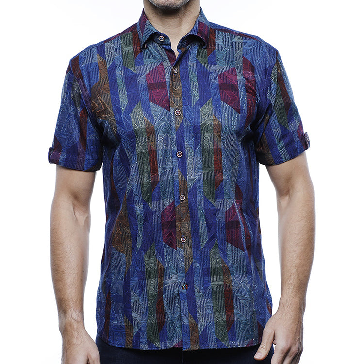 Luchiano Visconti Strips & Zig Zag Jacquard Short Sleeve Sports Shirt