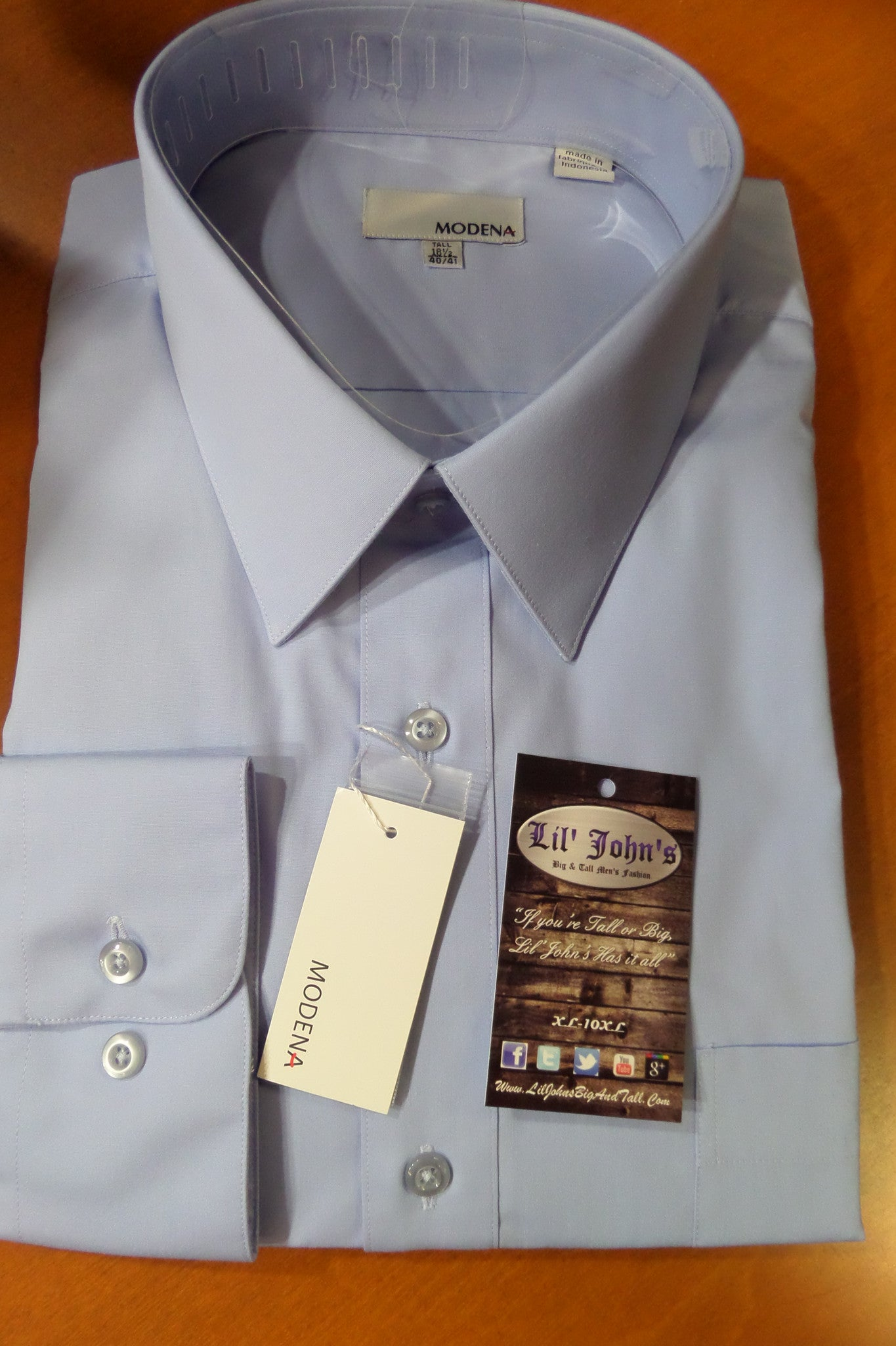 MODENA POWDER BLUE POPLIN DRESS SHIRT