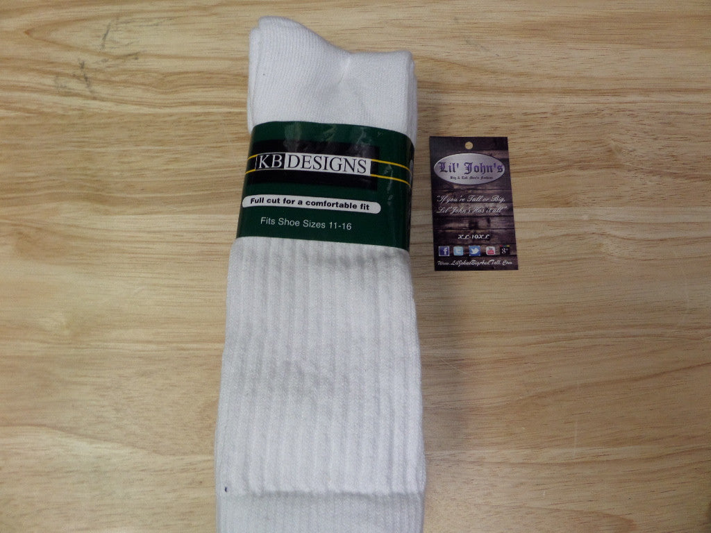 KB designs 3 pack crew socks size 11 to 20 @ Lil johns big and tall mens fashion