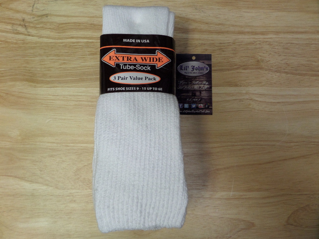 Extra Wide 3 Pack Crew Socks size: 9-15