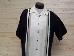Ivory tan and black panel camp shirt from cellinni at Lil johns big and tall mens fashion