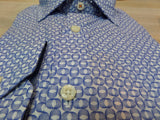 Tallia Big and Tall dress shirt in white with blue rings and paisley accents at Lil johns big and tall