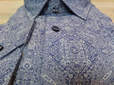 100% Cotton fashion shirt focused on the details and well made clothing from Tallia  in this blue pattern print Shorts Shirt. at Lil Johns Big and Tall