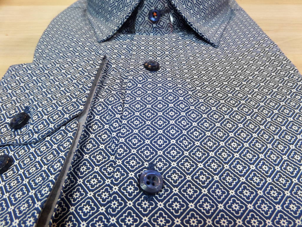 Tallia Indigo Pattern Print Sports Shirt Lil Johns Big Tall