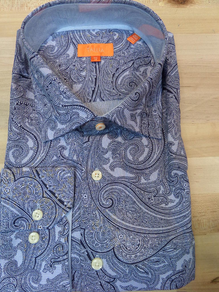 Tallia Blue Large Paisley Print Sports Shirt