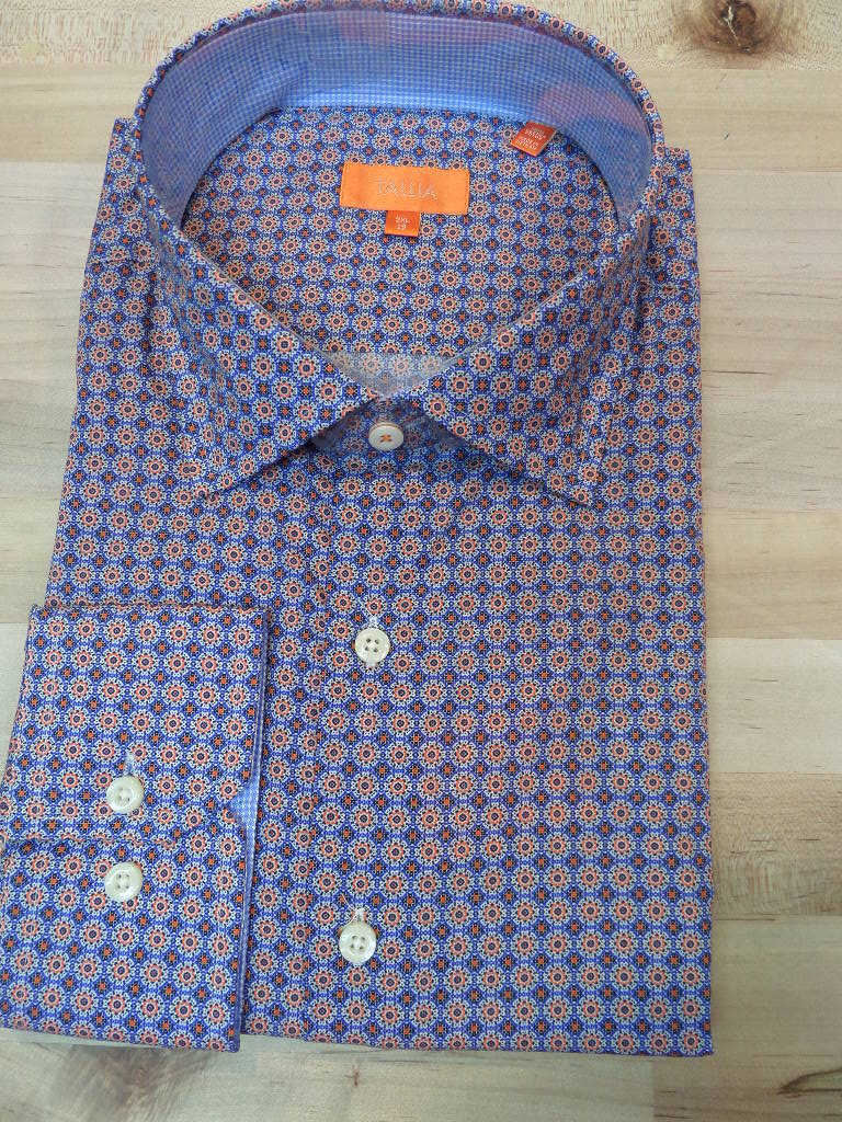 Tallia Big and Tall dress shirt in orange and blue burst print sports shirts at Lil johns big and tall