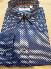 Great Performance, 100% Pure Cotton Whisper Weave NON-Iron Long Sleeve Sports Shirt with a Modern clean look. Navy with small white squares. at Lil Johns big and tall men's Clothier