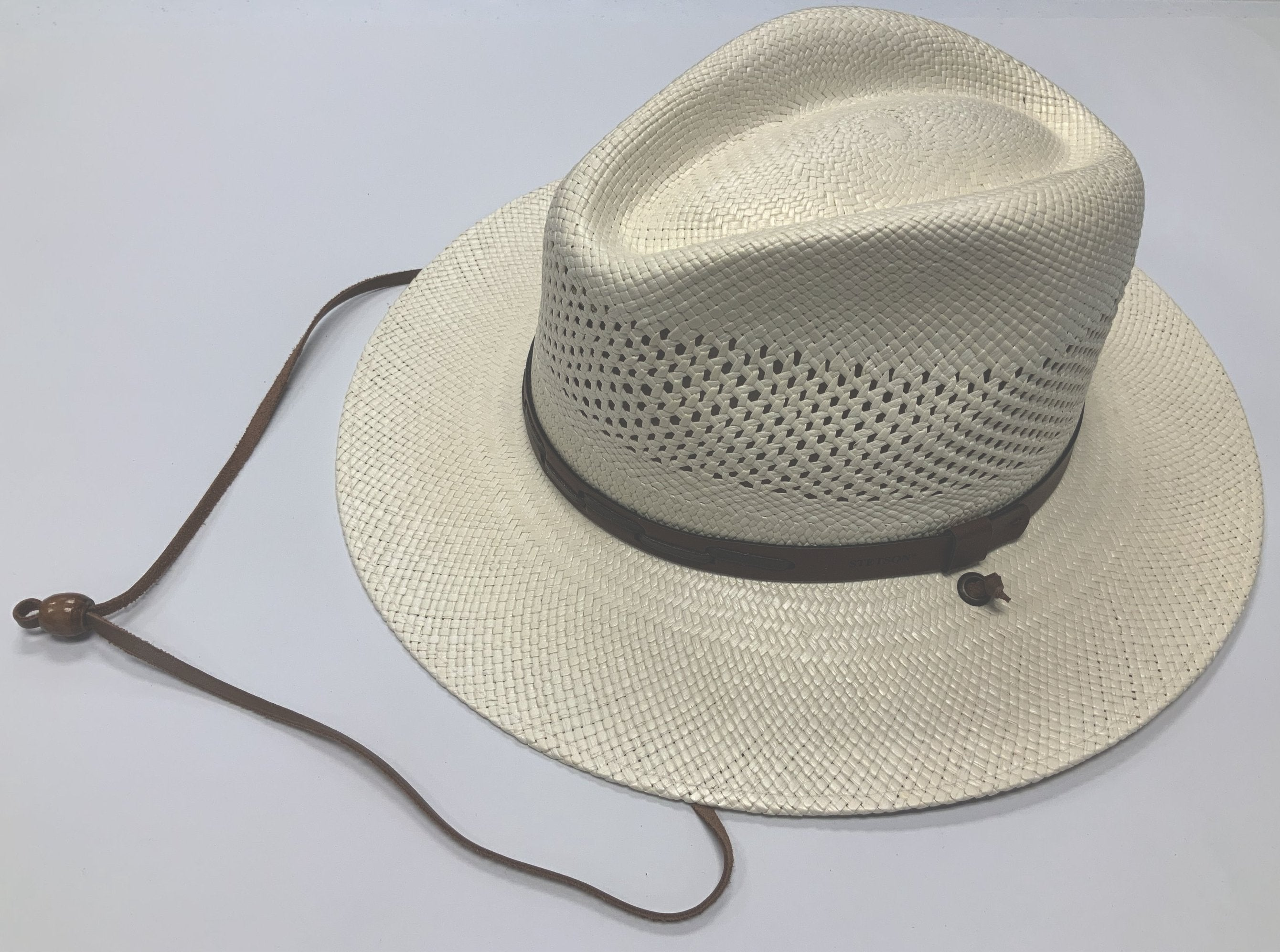 Stetsons Airway straw hat has Vented Panama, UV under brim, Chin Strap  Brim: 3 at lil johns big and tall