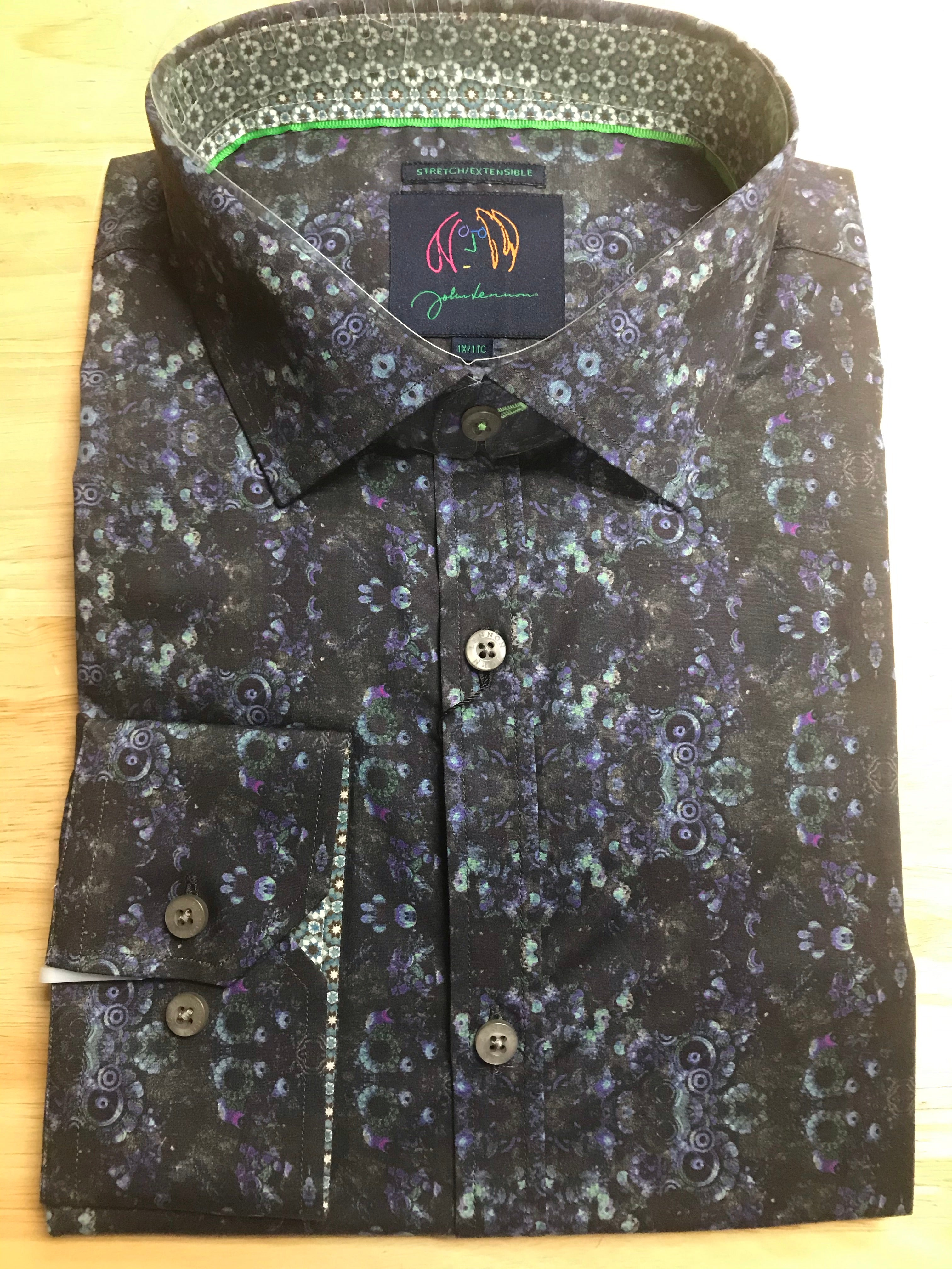 A throw back to the time of John Lennon and the Beetles.  Created from the John Lennon line and approved by Yoko Ono, this long sleeve sport shirt in a black and navy geo print on a Cotton Stretch Fabric is just plain cool. at Lil Johns Big and Tall size 1xl 2xl 3xl and 4xl