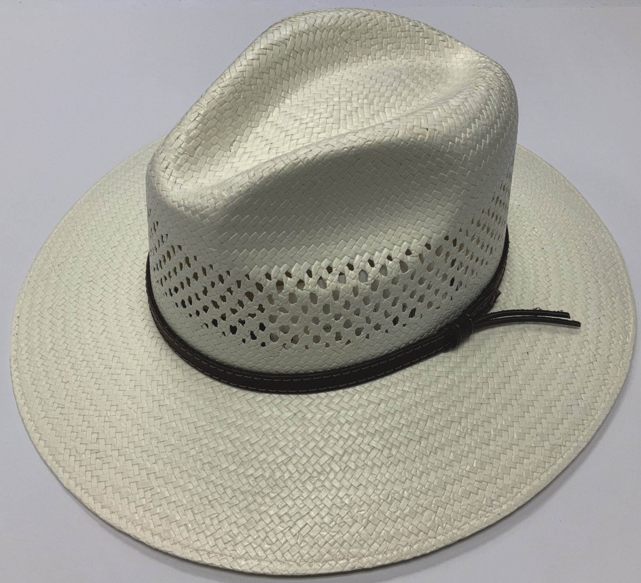 Stetson straw hat has a UV Protection factor of 50+ the highest possible rating. It combines the coolness of an open ventilated weave with our sun blocking fabric, giving you maximum protection for your head, neck, and face. Vented Shantung, UV under brim blocks 98% UVA/UVB,  3 3/4 Brim, Natural in color with Leather band. at lil johns big and tall