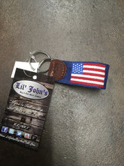 Smathers & Branson american flag key chain with genuine leather accents at lil johns big and tall mens fashion