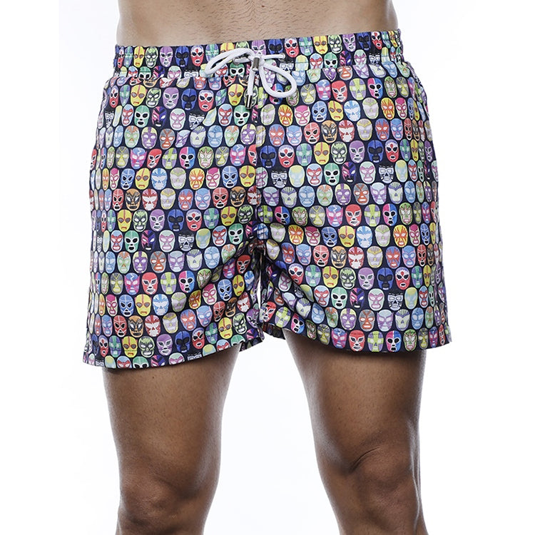 Luchiano Visconti Wrestler Masks Swim Trunks