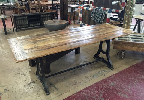 Farm Table with Iron Base
