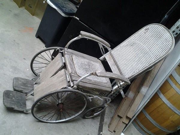 "Antique Wicker and Wood Wheelchair with Bed Pan - ""Arrow"" Erie, PA"