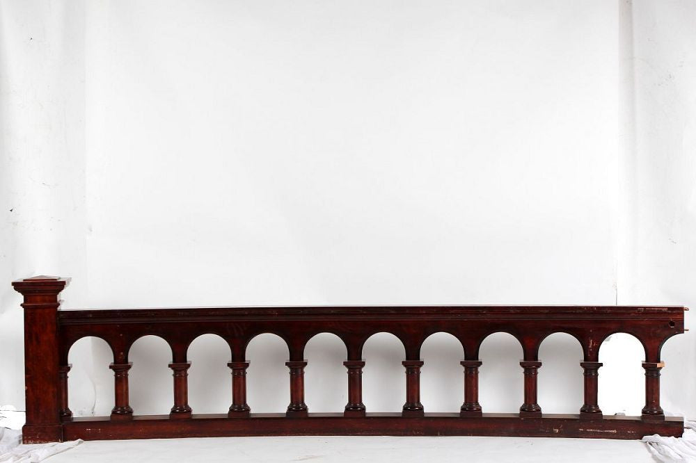 Mahogany and Maple Altar Rail, Curved
