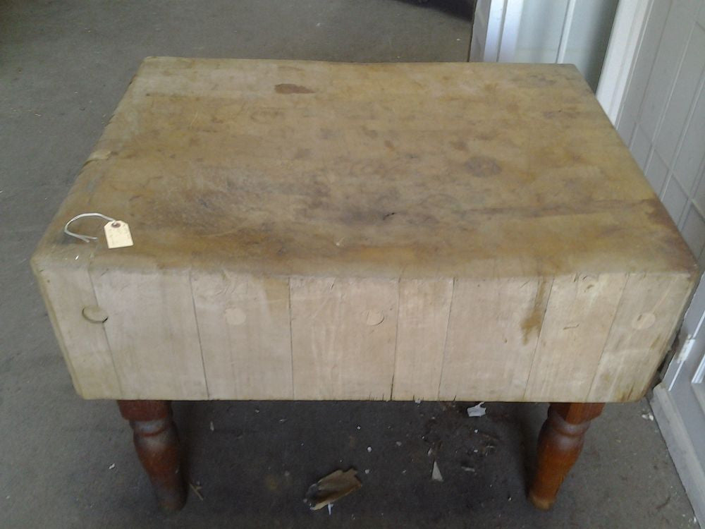 antique vintage butcher block table black dog salvage