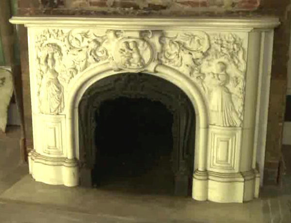 Carved Carrara Marble Mantel