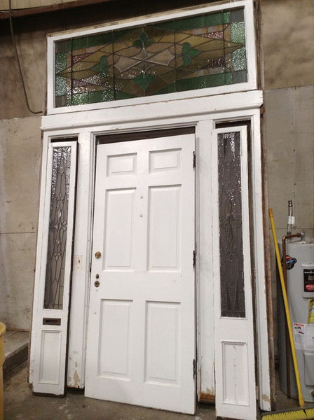 Antique Exterior Door Surround W Stained Glass Sidelights