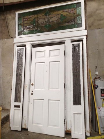 Antique Exterior Door Surround w/ Stained Glass Sidelights and Transom