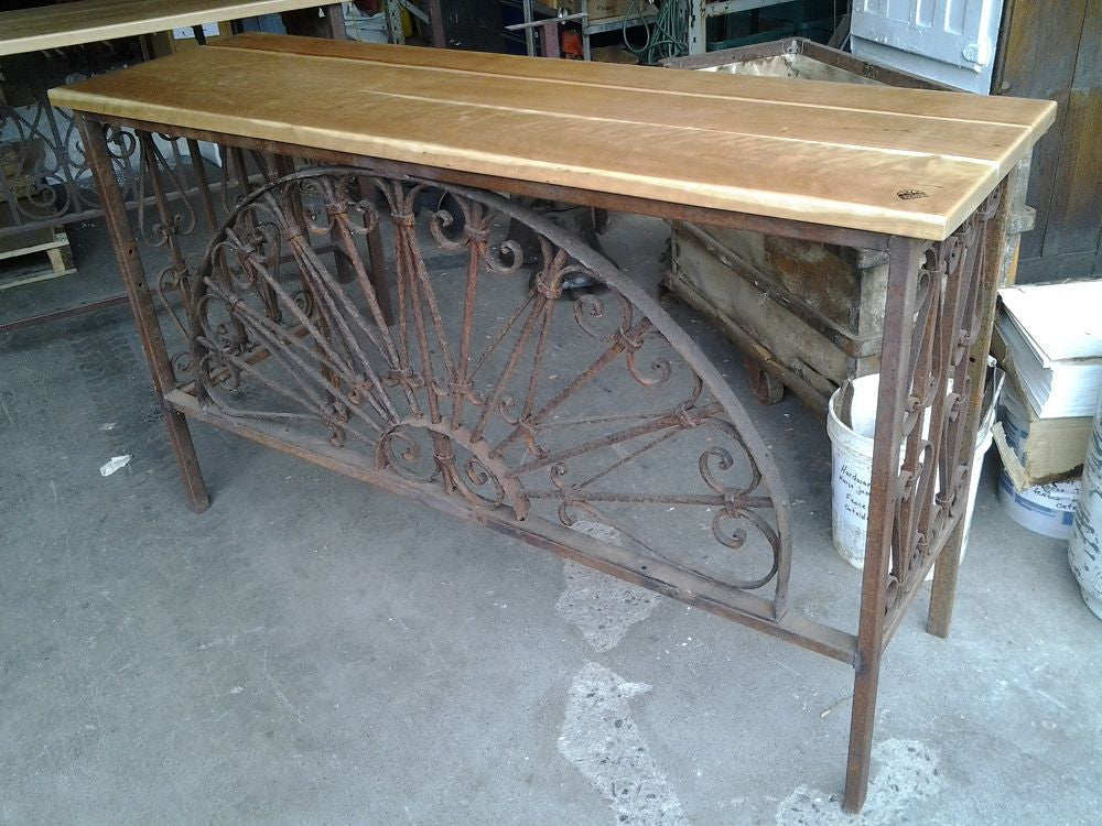 Cherry Console, Arched Transom