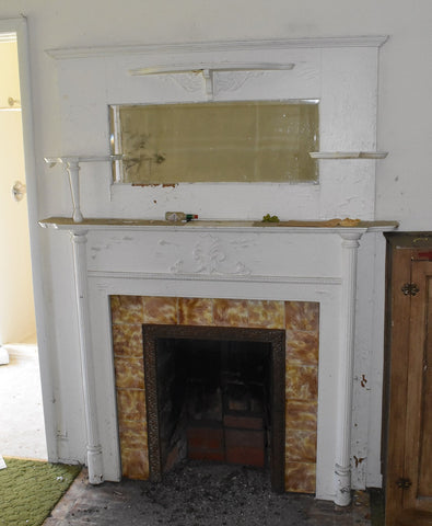 Tile Fireplace Surround, Yellow and Purple