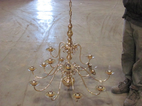 Chandelier, Brass, 2-Tier
