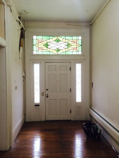 Antique Exterior Door Surround with Stained Glass