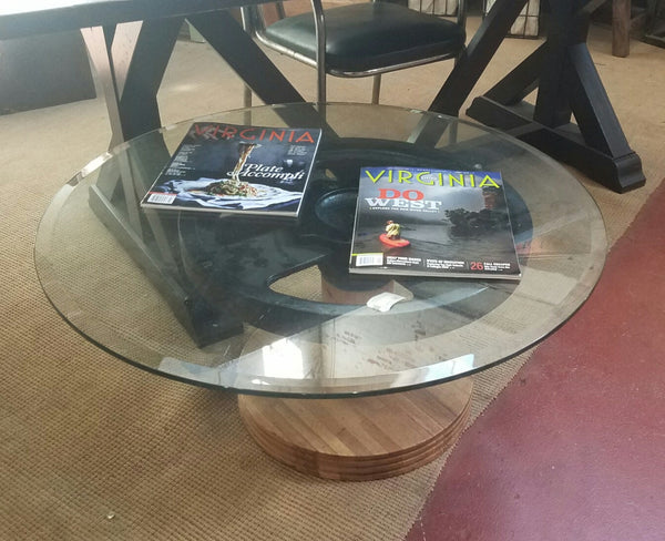 End Table, Iron Wheel with Glass Top