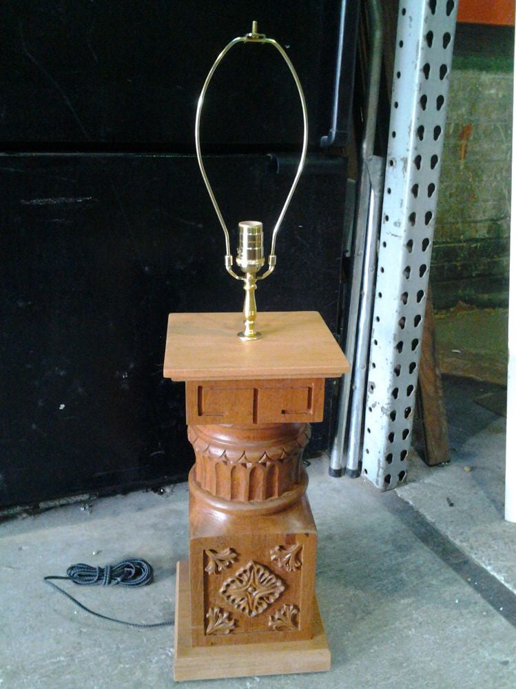Mahogany Scroll Table Lamp