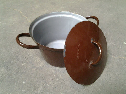 Enamel Ware Pot, Brown