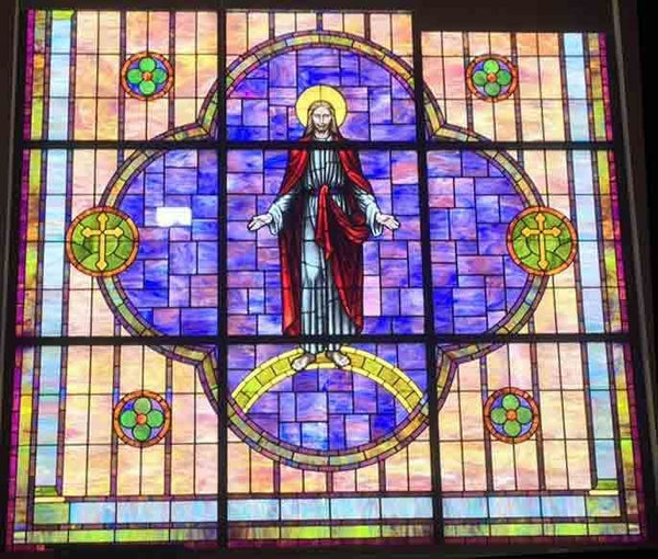 Large Stained Glass w/ Frame, Religious - circa 1972