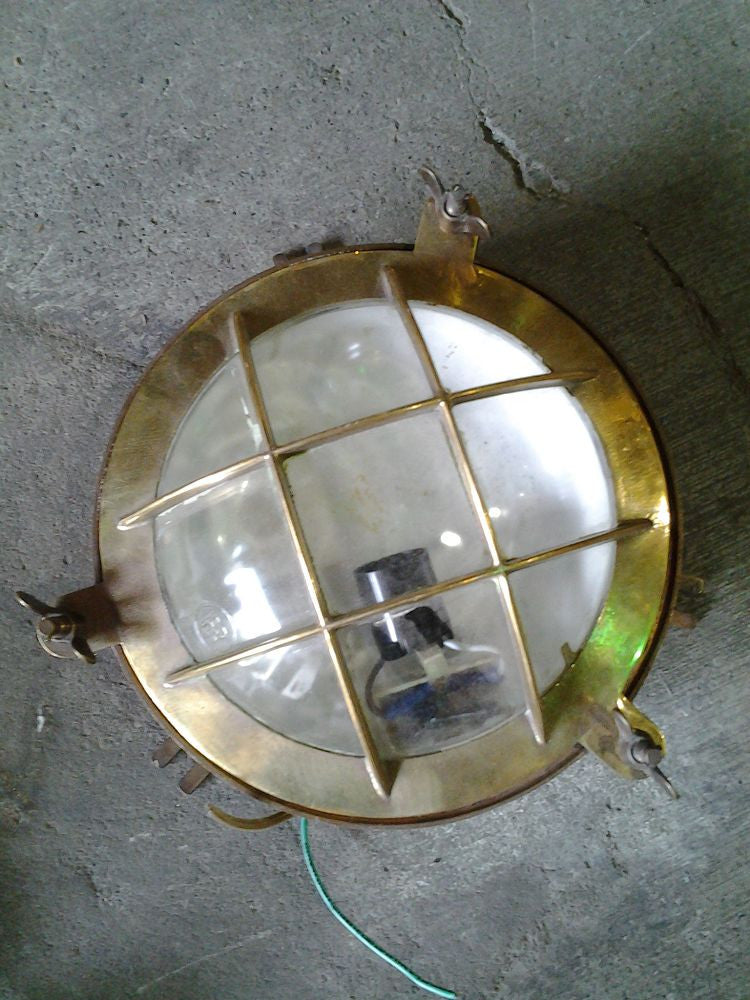 Round Flush Mount Light, Brass