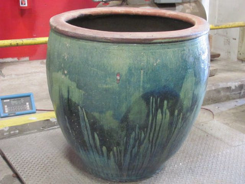 Large Ceramic Planter, Turquoise and Green