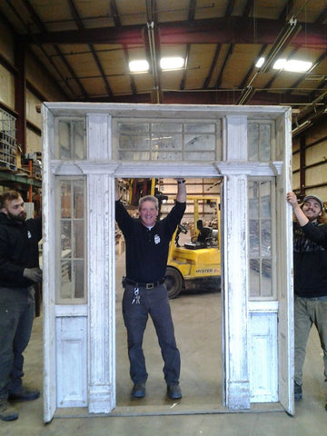 Antique Exterior Door Surround with Sidelights and Transom