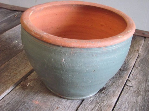 Planter, Green Potbellied, 10.5""