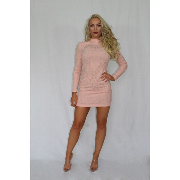 Gold Embellished Pink Bodycon Dress - Be Seen Boutique