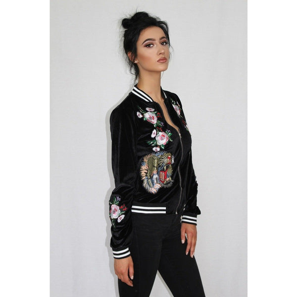Tiger Embroidered Black Velvet Jacket - Be Seen Boutique