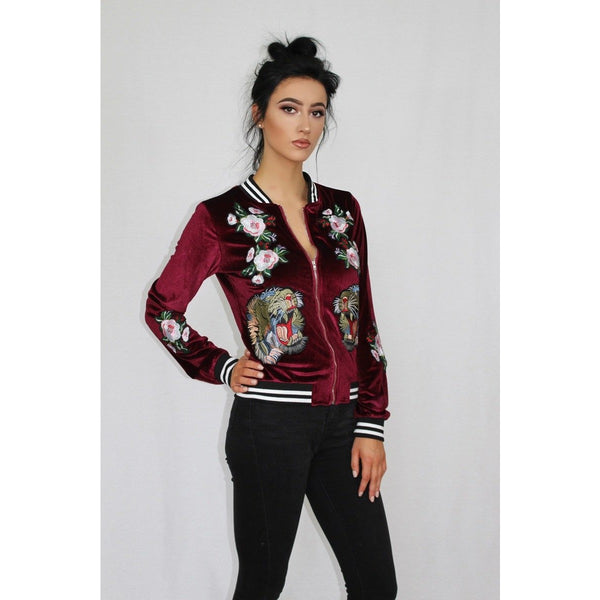 Tiger Embroidered Red Velvet Jacket - Be Seen Boutique