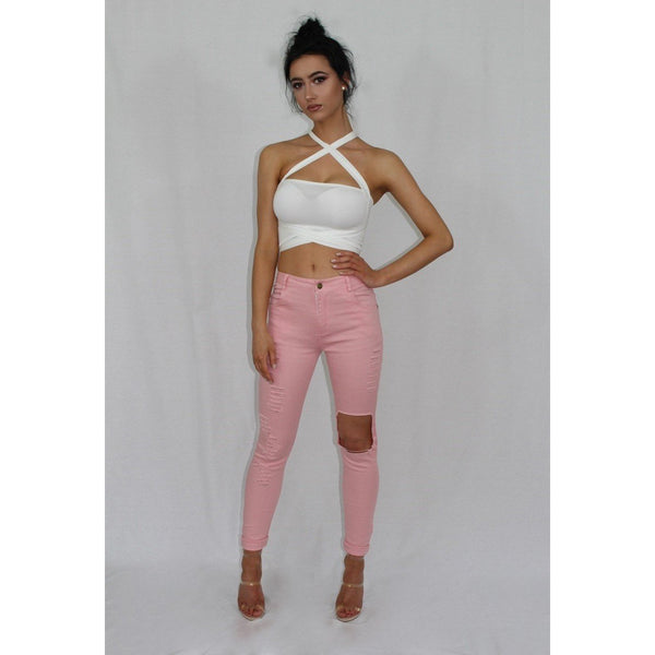 Pink High Waisted Ripped Jeans - Be Seen Boutique