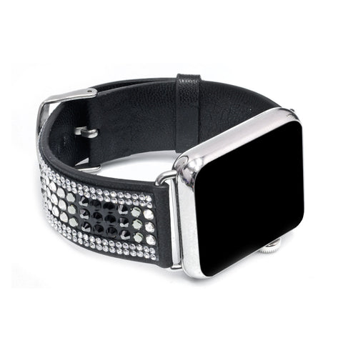 Apple Watch Black Replacement Band with Monochrome Swarovski Elements - Evening Out Collection