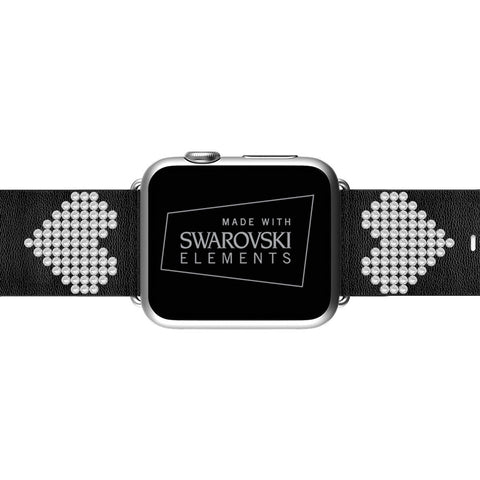 Apple Watch Black Replacement Band with Swarovski Heart