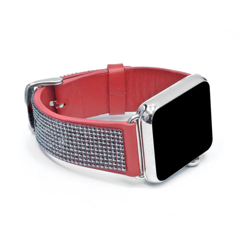Apple Watch Red Replacement Band with Jet Hematite Swarovski Elements - Sheer Elegance Collection