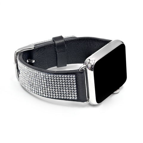 Apple Watch Black Replacement Band  with Crystal Swarovski Elements - Sheer Elegance Collection