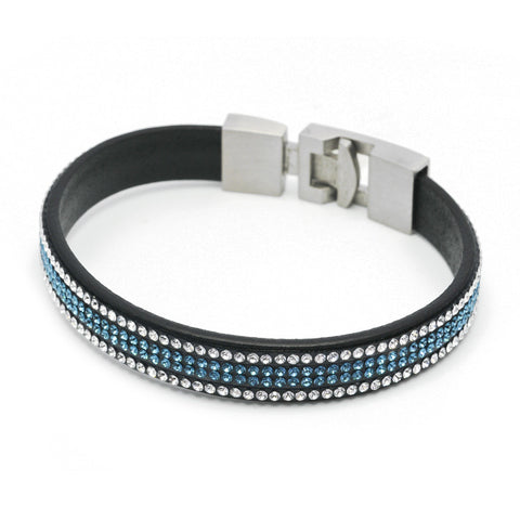Slim Bracelet with Crystal and Aquamarine Swarovski Elements
