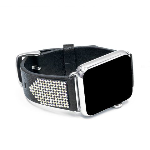 Apple Watch Black Replacement Band  with Crystal AB Swarovski Elements - Shimmer Collection