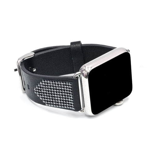 Apple Watch Black Replacement Band with Jet Hematite Swarovski Elements - Shimmer Collection