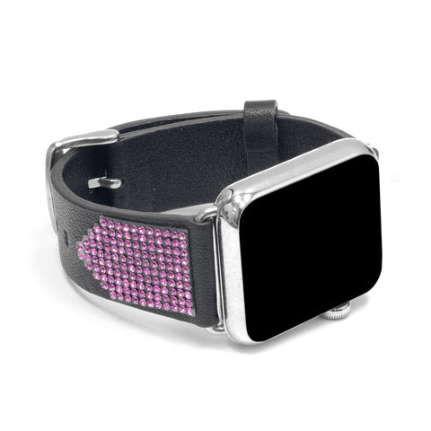 Apple Watch Black Replacement Band with Rose Swarovski Elements -  Shimmer Collection